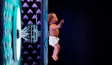 Animatronic baby on display in the Robots exhibition Plastiques Photography; courtesy of the Science Museum