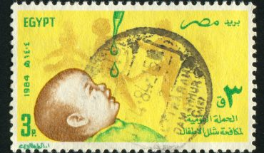 stamp printed by Egypt, shows Child, vaccine drops, circa 1984