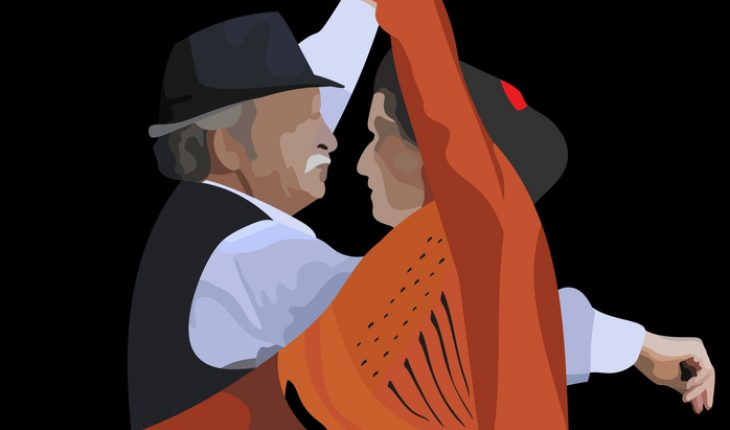 illustration of an elderly couple dancing spanish dance