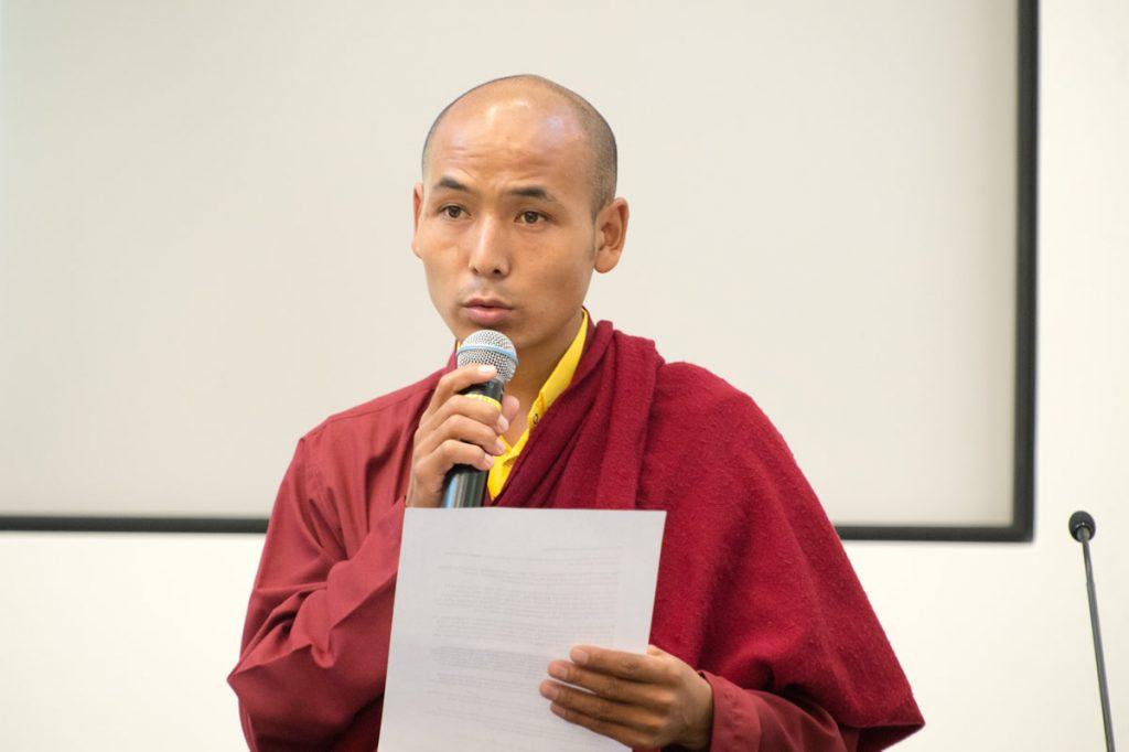 Wangchuk Rapten delivering speech