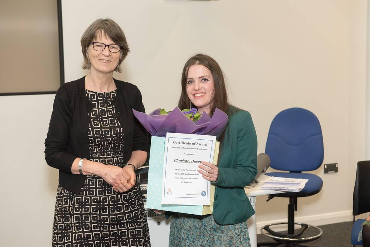 Barbara Rowlands awarding winner Charlotte Davey