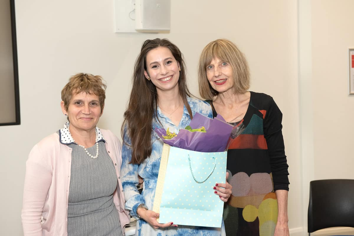 Dr Clare Gerada & Carole Stone CBE awarding winner Flora Carr